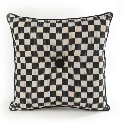 Courtly Check Button Pillow