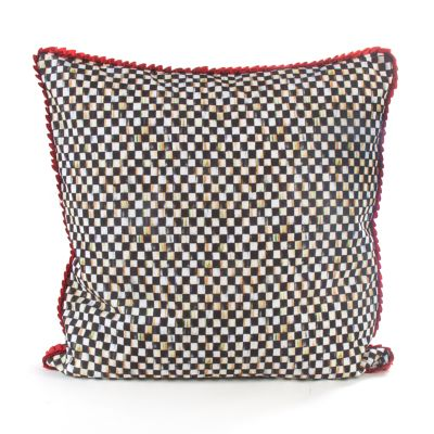 Courtly Check Pillow - Poppy