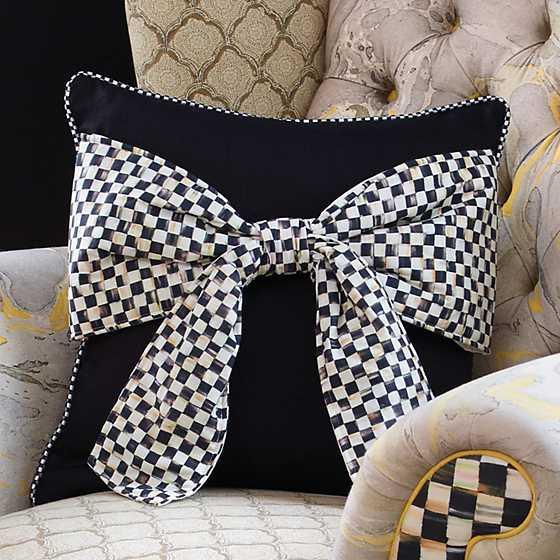 Mackenzie Childs Bow Pillow Black
