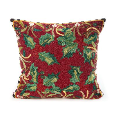 Holly & Berry Beaded Pillow
