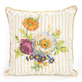 Parchment Check Posie Pillow