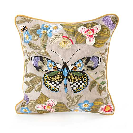 Mackenzie Childs Thistle Amp Bee Square Pillow Small