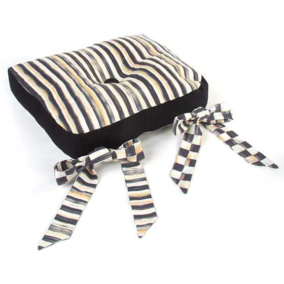 Mackenzie Childs Courtly Check Button Tuft Stool Cushion