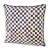 Courtly Check Outdoor Pillow - Black Piping