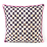 Courtly Check Outdoor Pillow - Pink Piping