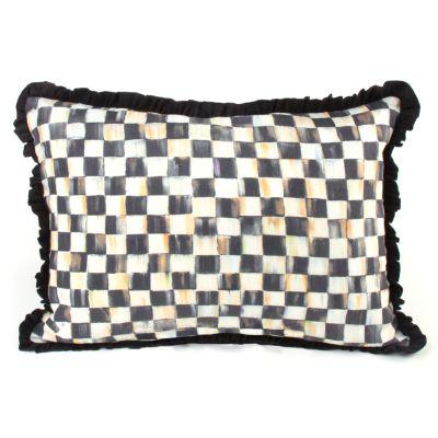 Courtly Check Ruffled Lumbar Pillow