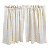 Parchment Check Cafe Curtains - Set of 2