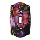 Flower Market Switch Plate - Single Toggle - Black