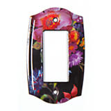 Flower Market Switch Plate - Single Rocker - Black