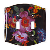 Flower Market Switch Plate - Double Toggle - Black