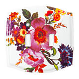 Flower Market Switch Plate - Double Toggle - White