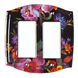 Flower Market Switch Plate - Double Rocker - Black