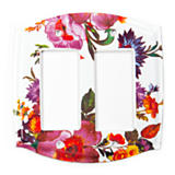 Flower Market Switch Plate - Double Rocker - White
