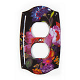 Flower Market Double Outlet Cover - Black