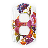 Flower Market Double Outlet Cover - White