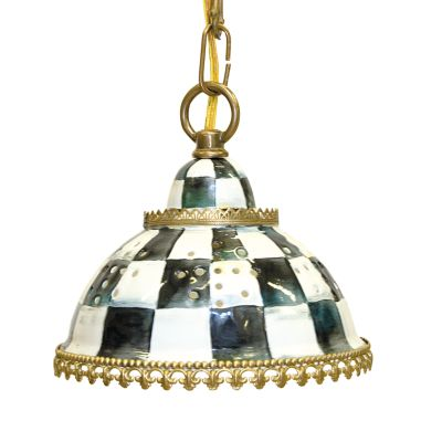 Courtly Check Enamel Pendant Lamp - Small
