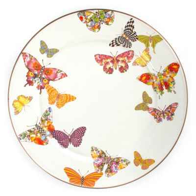 Butterfly Garden Charger/Plate - White