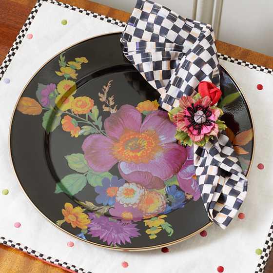 Mackenzie Childs Flower Market Charger Plate Black