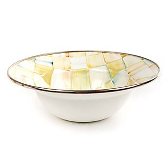 Parchment Check Enamel Breakfast Bowl