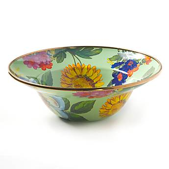 Flower Market Enamel Breakfast Bowl - Green