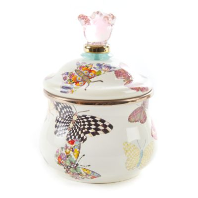 Butterfly Garden Lidded Sugar Bowl - White