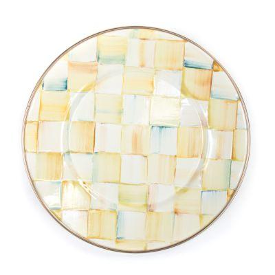 Parchment Check Enamel Salad/Dessert Plate