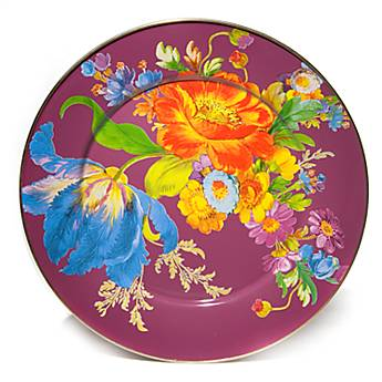 Flower Market Enamel Serving Platter - Plum