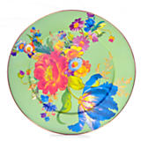 Flower Market Enamel Serving Platter - Green