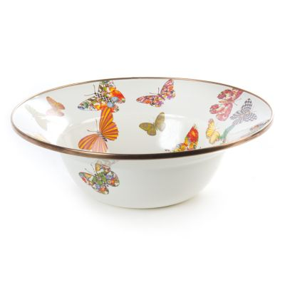 Butterfly Garden Serving Bowl - White
