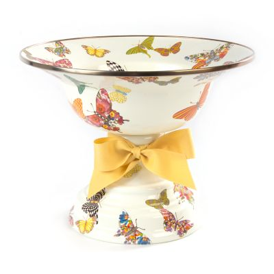 Butterfly Garden Large Compote - White