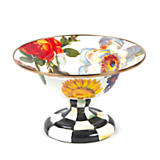 Flower Market Small Enamel Compote - White