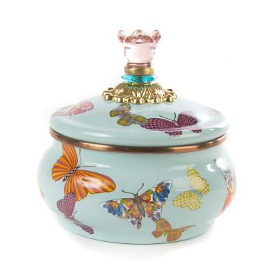 Butterfly Garden Squashed Pot - Sky