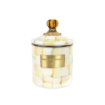Parchment Check Enamel Canister - Small