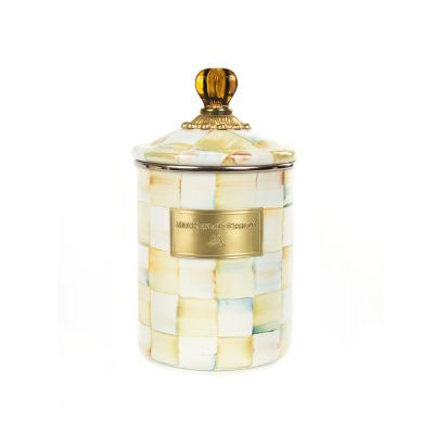 Parchment Check Enamel Canister - Medium
