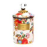 Flower Market Medium Enamel Canister - White