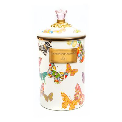 Butterfly Garden Large Canister - White