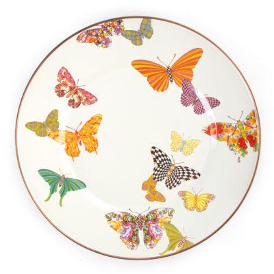 Butterfly Garden Dinner Plate - White