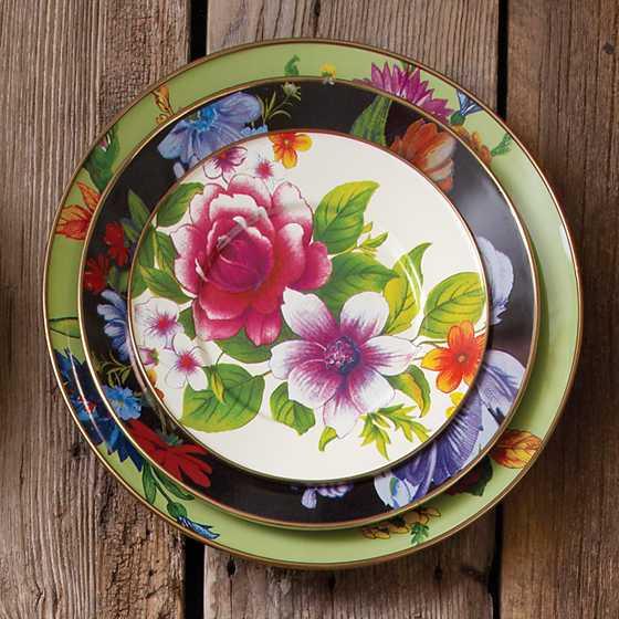Mackenzie Childs Flower Market Dinner Plate Black