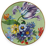 Flower Market Enamel Dinner Plate - Green