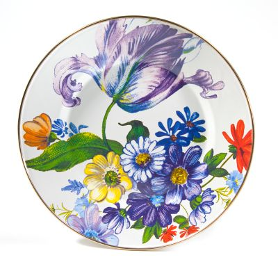 Flower Market Dinner Plate - White