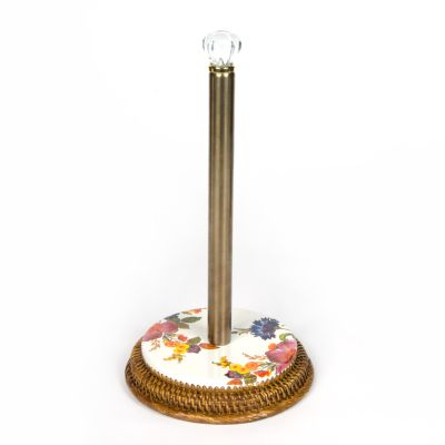 Flower Market Rattan Paper Towel Holder - White