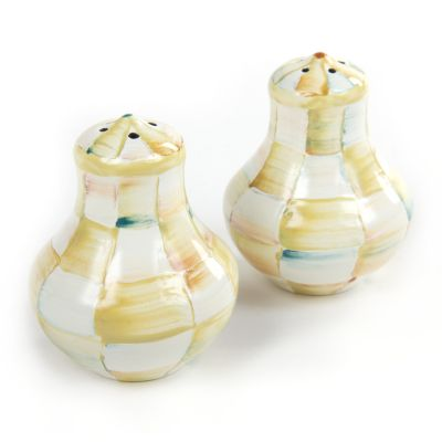 Parchment Check Enamel Salt & Pepper Shakers