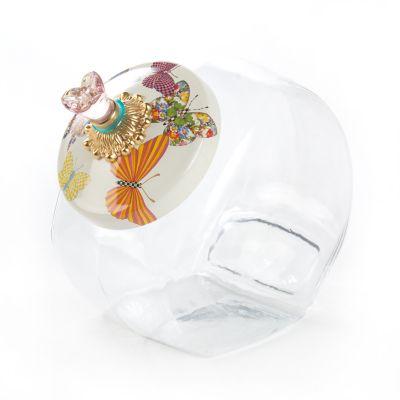 Cookie Jar with Butterfly Garden Enamel Lid -White