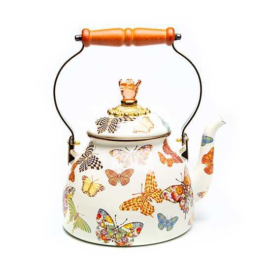 MacKenzie Childs Butterfly Garden Enamel Tea Kettle White 3 Quart