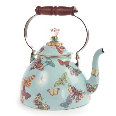 Butterfly Garden 3 Quart Tea Kettle - Sky