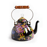 Flower Market Enamel 3 Quart Tea Kettle - Black