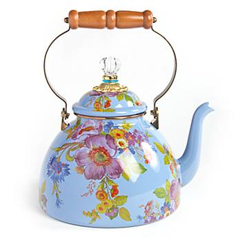 Flower Market Enamel 3 Quart Tea Kettle - Blue