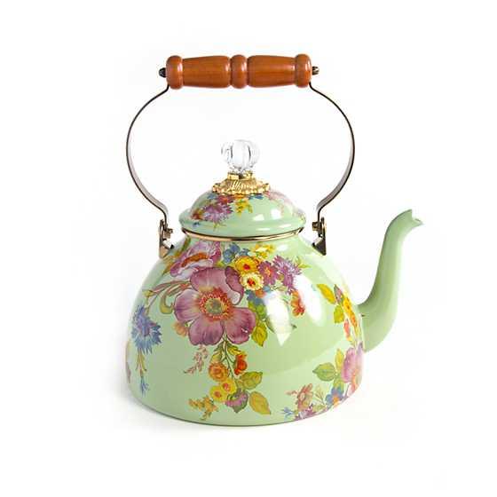 Mackenzie Childs Flower Market 3 Quart Tea Kettle Green