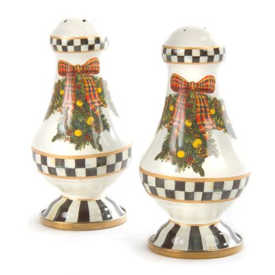 Evergreen Enamel Large Salt & Pepper Shakers