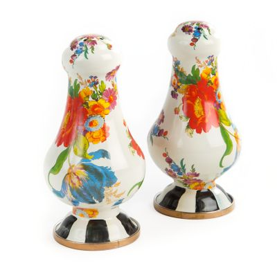 Flower Market Large Salt & Pepper Shakers - White